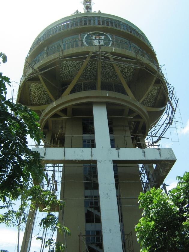 This 120-ft tower is known as the Luminous Cross of Grace Sanctuary.